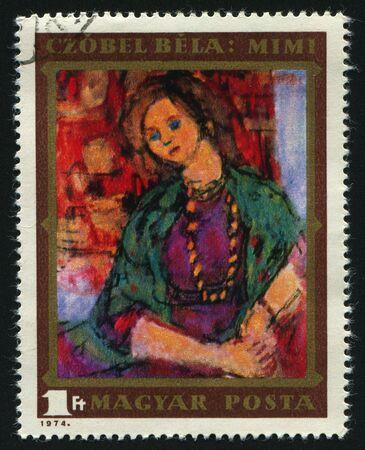philately: HUNGARY -CIRCA 1974: Mimi, by Bela Czobel, circa 1974.
