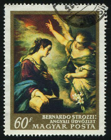 circa: HUNGARY -CIRCA 1967: The Annunciation, by Bernardo Strozzi, circa 1967. Stock Photo