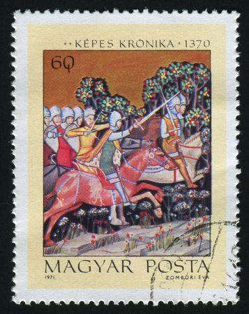 HUNGARY - CIRCA 1971: Samuel Aba pursuing King Peter, circa 1971.