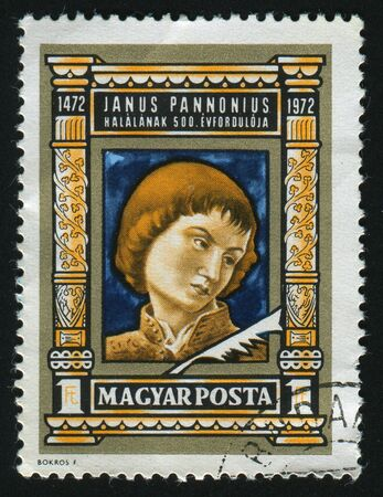 janus: HUNGARY - CIRCA 1972: Janus Pannonius, by Andrea Mantegna, circa 1972.