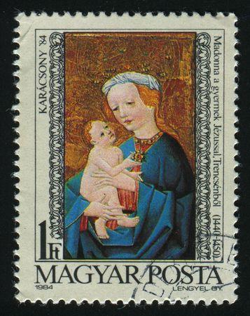 HUNGARY - CIRCA 1984: Madonna and child, Trensceny, circa 1984. photo
