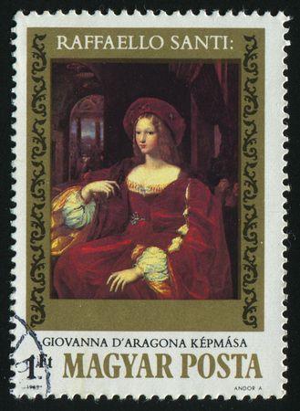 HUNGARY - CIRCA 1983: Joan of Aragon, by Raphael, circa 1983.