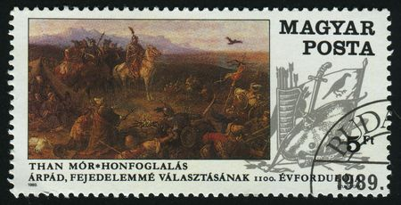 postoffice: HUNGARY - CIRCA 1989: Conquest of Hungary, by Mor Than, circa 1989. Stock Photo
