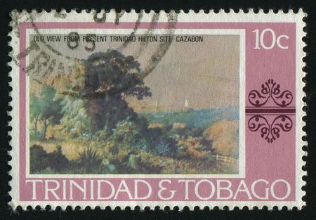 philately: TRINIDAD AND TOBAGO - CIRCA 1985: Picture with a summer landscape, circa 1985.