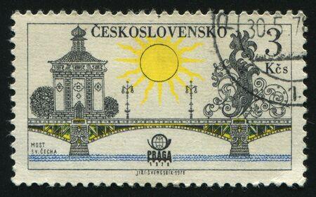 praga: CZECHOSLOVAKIA - CIRCA 1978: Prague bridges and Praga 78 emblem: Svatopluk cech bridge, circa 1978. Stock Photo