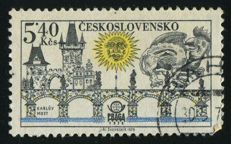 praga: CZECHOSLOVAKIA - CIRCA 1978: Prague bridges and Praga 78 emblem: Charles Bridge, circa 1978. Stock Photo