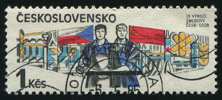 czechoslovakia: CZECHOSLOVAKIA - CIRCA 1985: Czech-Soviet Treaty, circa 1985.