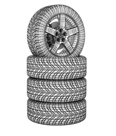 New tires stacked up and isolated on white background. High resolution image photo