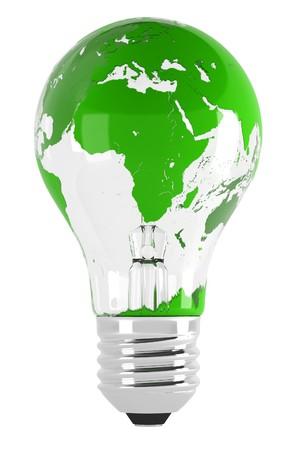 Light bulb and map. 3d illustration over  white backgrounds. illustration