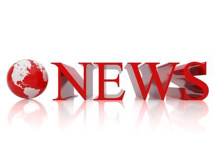 icone news: Le globe et le signe sur la presse. illustration 3D arri�re-plan blanc de.