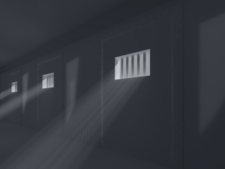 High resolution image prison. 3d illustration. Old prison. Prison cell with lattices. Stock Illustration - 6987384