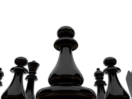 chellange: High resolution image. Black chessmen on a white background. Stock Photo