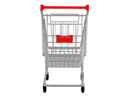 purchasing power: Shopping cart. 3d illustration over  white backgrounds. Stock Photo