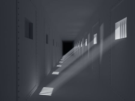 High resolution image prison. 3d illustration. Old prison. Prison cell with lattices. Stock Illustration - 7212838