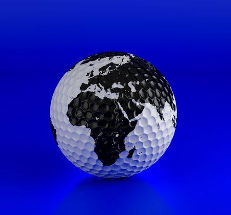 Golf ball isolated on blue. 3d illustration. High resolution image. Stock Illustration - 7212854
