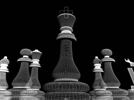 chellange: High resolution image.  White chessmen on a black background. Stock Photo