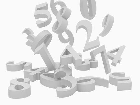High resolution image. Numerical symbols over white background. 3d rendered illustration. illustration