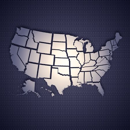 USA map isolated on metal background. High resolution image. Stock Photo