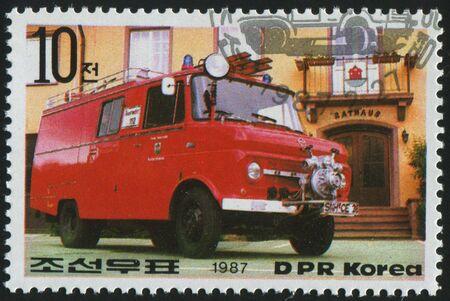 KOREA - CIRCA 1987: stamp printed by Korea,  shows  firetruck, circa 1987. photo