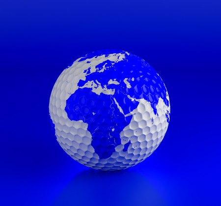 Golf ball isolated on blue. 3d illustration. High resolution image. Stock Illustration - 7239155