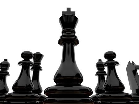 chellange: High resolution image. Black chessmen on a white background Stock Photo