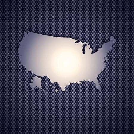 USA map isolated on metal background. High resolution image. photo