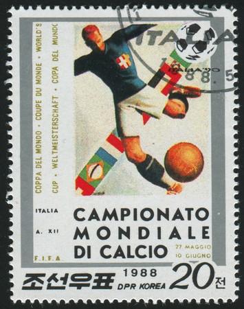 KOREA - CIRCA 1988: stamp printed by Korea,  shows World Cup Soccer Championships, circa 1988.