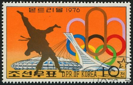 KOREA - CIRCA 1976: stamp printed by Korea,  shows sports judo, circa 1976.