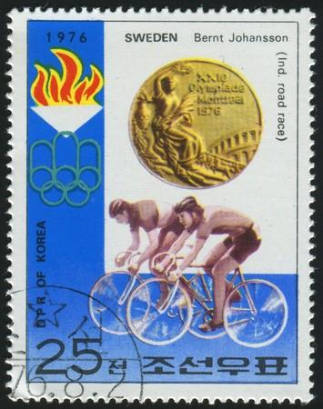 KOREA - CIRCA 1976: stamp printed by Korea,  shows bicycling, circa 1976.