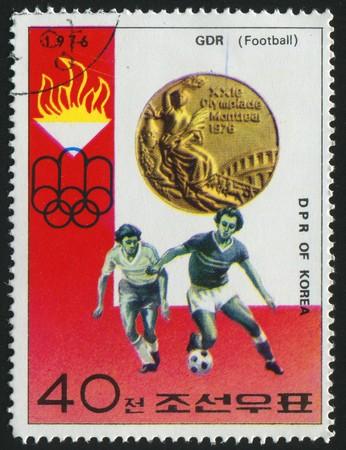 KOREA - CIRCA 1976: stamp printed by Korea,  shows soccer championships, circa 1976.