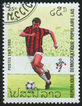 LAOS - CIRCA 1990: stamp printed by Laos, shows soccer championships, circa 1990.