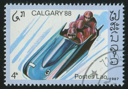 bobsled: LAOS - CIRCA 1987: stamp printed by Laos, shows bobsled, circa 1987.