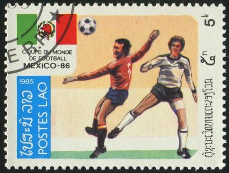 LAOS - CIRCA 1985: stamp printed by Laos, shows soccer championships, circa 1985.