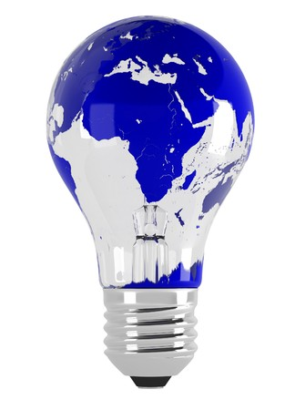 south east: Light bulb and map. 3d illustration over  white backgrounds.