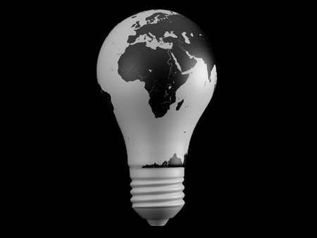 south east: Light bulb and map. 3d illustration over black backgrounds.