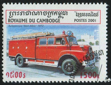 CAMBODIA - CIRCA 2001: stamp printed by Cambodia, shows retro car, circa 2001. photo