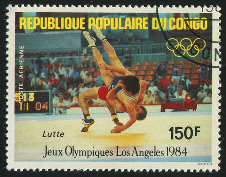 CONGO - CIRCA 1984: stamp printed by Congo,  shows 1984 Summer Olympics, Los Angeles. Wrestling, circa 1984.
