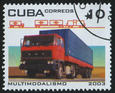 CUBA - CIRCA 2003: stamp printed by Cuba,  shows truck, circa 2003. photo