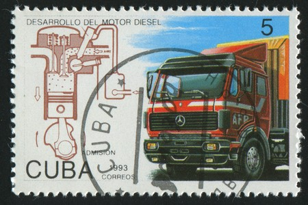 CUBA - CIRCA 1993: stamp printed by Cuba,  shows truck, circa 1993. photo