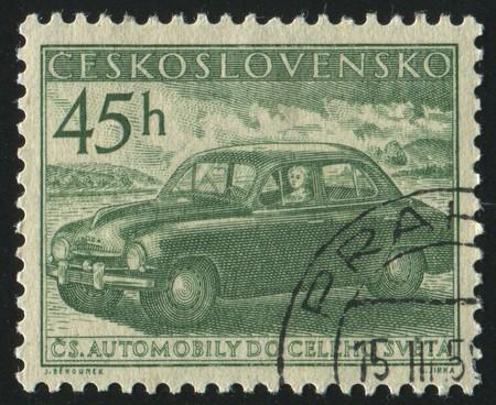 czechoslovakia: CZECHOSLOVAKIA - CIRCA 1956: stamp printed by Czechoslovakia, shows old auto, circa 1956. Stock Photo