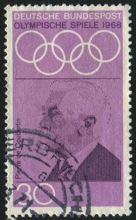 coubertin: GERMANY  - CIRCA 1968: stamp printed by Germany, shows Pierre de Coubertin, circa 1968.