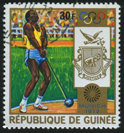 GUINEA - CIRCA 1972:   stamp printed by Guinea,  shows hammer throwing, circa 1972.