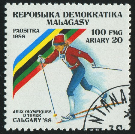 MALAGASY - CIRCA 1988:   stamp printed by Malagasy, shows cross-country skiing, circa 1988.