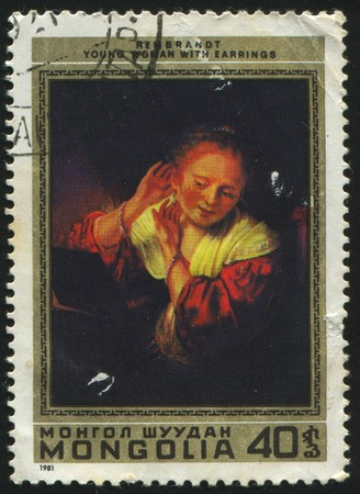 rembrandt: MONGOLIA - CIRCA 1981: stamp printed by Mongolia, shows Young woman by Rembrandt, circa 1981.