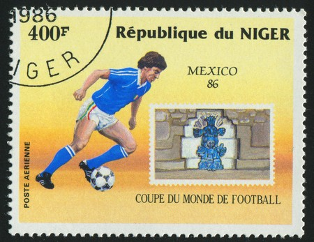NIGER - CIRCA 1986: stamp printed by Niger, shows World Cup Soccer Championships Mexico, circa 1986.
