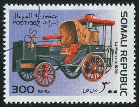 somali: SOMALI - CIRCA 1997: stamp printed by Somali, shows retro car, circa 1997.