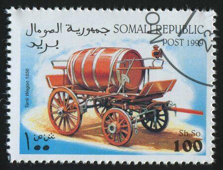 SOMALI - CIRCA 1999: stamp printed by Somali, shows retro car, circa 1999. photo