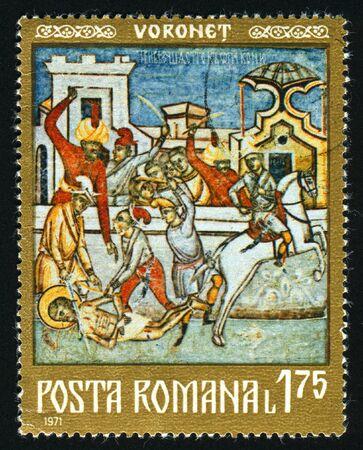 monasteries: ROMANIA - CIRCA 1971: Frescoes from North Moldavian Monasteries, circa 1971. Stock Photo