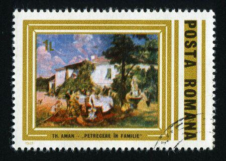 postoffice: ROMANIA - CIRCA 1981: Aman Paintings. Family picnic, circa 1981.