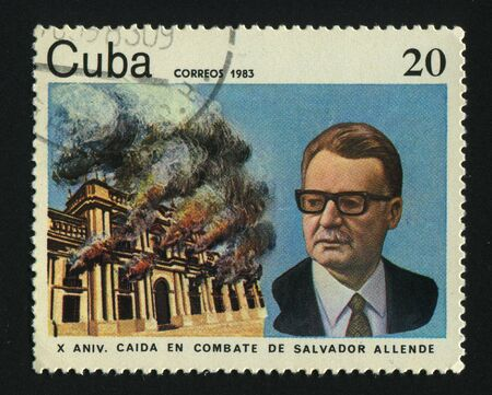salvador allende: CUBA - CIRCA 1983: A  stamp printed by Cuba,  shows Salvador Allende of Chile, circa 1983.